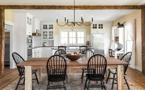Picture interior, kitchen, dining room, Beautiful Farmhouse