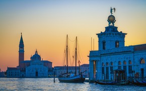 Picture sunset, the city, building, boats, the evening, morning, Italy, Church, Venice, channel