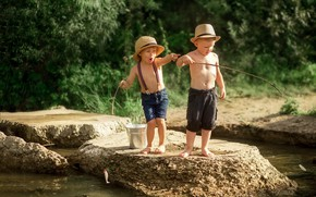 Picture summer, nature, children, river, stones, fishing, bucket, fishermen, friends, boys, Ekaterina Borisova