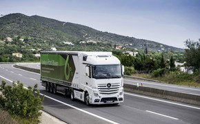 Picture white, hills, vegetation, Mercedes-Benz, track, tractor, 4x2, Actros, the trailer