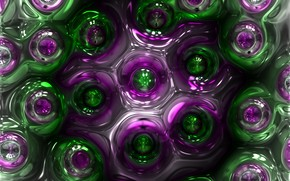 Picture purple, circles, abstraction, green, bubbles, Shine, structure, cell, substance, plasma, melting, diffusion, mixing