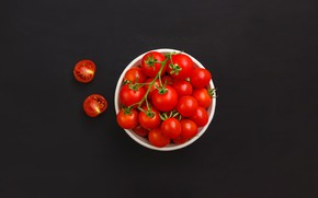 Picture the dark background, red, bowl, vegetables, tomatoes