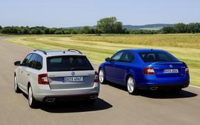 Picture blue, grey, sedan, Skoda, universal, 2013, Skoda, Octavia RS, Octavia Combi RS