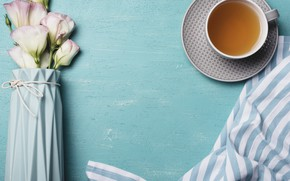 Picture flowers, background, pink, flowers, cup, tea, eustoma, Cup of tea, eustoma