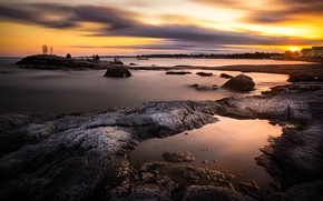 Picture beach, sunset, rock, stones, people, shore, the evening, houses, pond, tourists, rocky