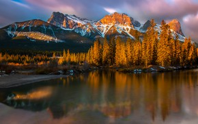 Picture winter, autumn, forest, clouds, light, snow, sunset, mountains, lake, reflection, rocks, shore, tops, ate, lighting, …