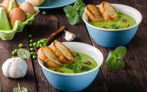 Picture eggs, peas, garlic, Basil, croutons, soup