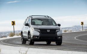 Picture road, asphalt, turn, Honda, 2019, Passport