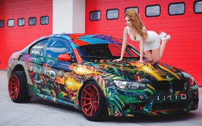 Picture auto, look, Girls, BMW, beautiful girl, on the hood