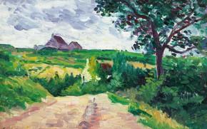 Picture landscape, picture, Maximilien Luce, Maximilien Luce, The Outskirts Of Etampes Town Hall