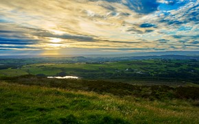 Picture grass, sky, water, view, sun, relaxing, overlook, ambience, Darwen, lancashire