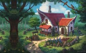 Picture forest, fantasy, art, house, the garden, children's, Nelly Amosova, Fantasy sketch