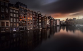 Picture the sky, water, the city, home, Amsterdam, channel, Netherlands