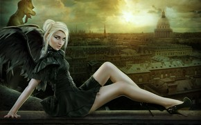Picture girl, the city, photoart