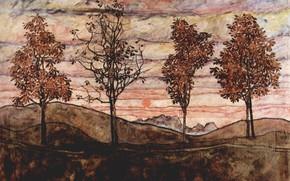 Picture 1917, Egon Schiele, Four trees