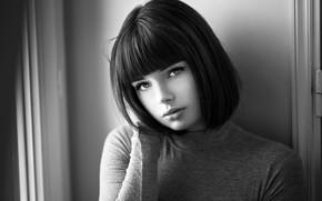 Wallpaper model, portrait, black and white, beauty, bokeh, Lods Franck, Marie Grippon