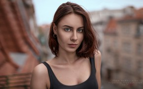 Picture model, portrait, brown hair, bokeh, Adam Wawrzyniak