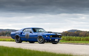 Picture Ford, Road, Grass, Wheel, Clouds, 1969, Ford Mustang, Drives, Muscle car, Mach 1, Classic car, …