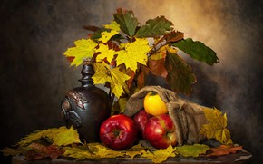 Picture autumn, leaves, the dark background, table, wine, apples, bottle, bouquet, yellow, red, fruit, still life, …