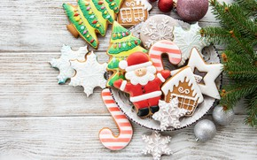 Picture decoration, New Year, Christmas, christmas, wood, merry, cookies, decoration, gingerbread, gingerbread, fir tree, fir-tree branches