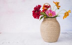 Picture flowers, background, bouquet, vase, flowers, vase