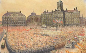 Picture Jan Gregoire, Ian Gregoire, Victory celebration on Dam Square may 9, 1945