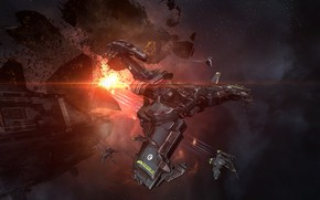 Picture nebula, station, asteroids, Space, space, ruins, battle, spaceship, eve online, battle, space ship, coooper