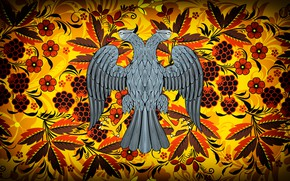 Picture Flowers, Bird, Style, Eagle, Background, Coat of arms, Painting, Art, Khokhloma, Double-headed eagle, Khokhloma painting, …