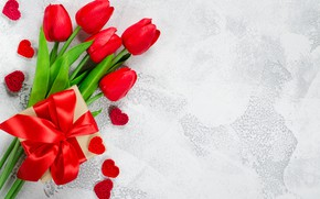 Picture love, flowers, gift, bouquet, tape, tulips, red, red, love, heart, flowers, romantic, tulips, valentine's day, ...