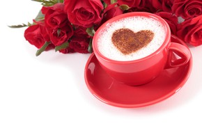Picture flowers, mood, holiday, coffee, roses, bouquet, Cup, white background, red, heart, cappuccino, Valentine's day, saucer, …