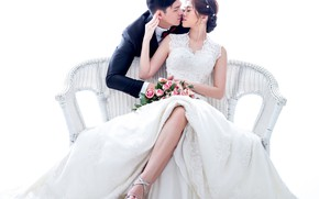 Picture girl, love, flowers, kiss, bouquet, dress, hairstyle, male, the bride