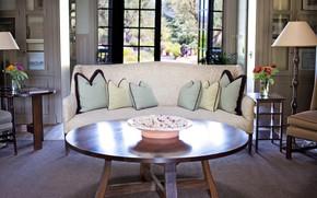 Picture table, room, sofa, interior, pillow, window, floor lamp, living room, dish