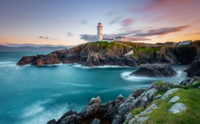Picture sea, the sky, clouds, mountains, stones, rocks, hills, shore, lighthouse, the evening, surf, Ireland, Cape