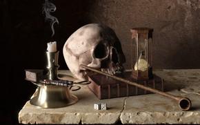 Picture time, skull, candle, tube, art, bones, book, hourglass, Memento Mori, Buyukyilmaz Honor, flint