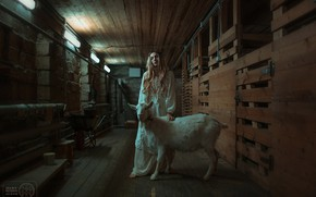 Picture girl, goat, Darya Bilyk