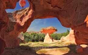 Picture landscape, nature, balloon, stones, rocks, vegetation, canyon, Turkey, Cappadocia, Пери Бакалари