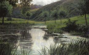 Picture landscape, Pond, Rodolphe Wytsman, Rodolphe Wytsman