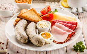 Picture egg, plate, tomatoes, sausage, ham