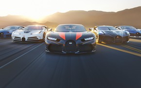 Picture sunset, rendering, speed, Bugatti, supercars, hypercar, Chiron, Divo, The Black Car, One hundred and ten, …