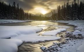 Picture winter, snow, landscape, sunset, nature, river, beauty