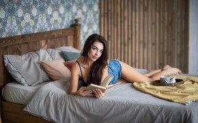 Picture look, girl, pose, room, bed, barefoot, brunette, book, barefoot, Anastasia Barmina, Anastasia Barmina