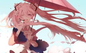 Picture the wind, umbrella, microphone, vocaloid, Hatsune Miku, Vocaloid, art, wink, blue sky, pink hair, singing, …