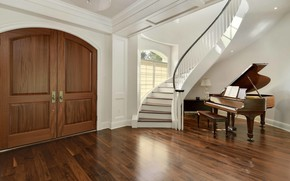 Picture interior, piano, ladder, hall, the lobby