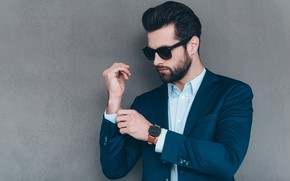 Picture style, background, wall, watch, glasses, hairstyle, costume, male, shirt, beard, guy, jacket