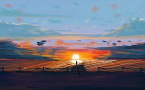 Picture sunset, figure, silhouette, art