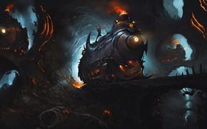 Picture Figure, The engine, Locomotive, Train, Cave, The world, Fantasy, Demons, Art, Art, Fiction, Train, Diesel, …