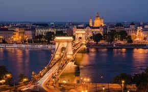 Picture the sky, trees, bridge, lights, river, home, the evening, lights, promenade, Hungary, Budapest, Chain Bridge