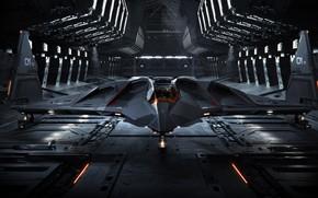Picture The plane, Hangar, Art, Bomber, Game, Transport, Bomber, Star Citizen, Jet, Science Fiction, Game Art, …