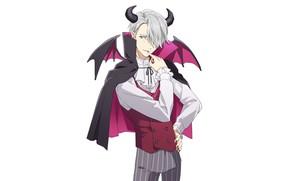 Picture the demon, costume, horns, cloak, manicure, Yuri on Ice, Yuri on the ice, Viktor Nikiforov, …