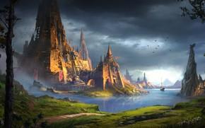 Picture The city, River, The world, City, World, Fantasy, Landscape, Art, Fiction, Dominique van Velsen, by …